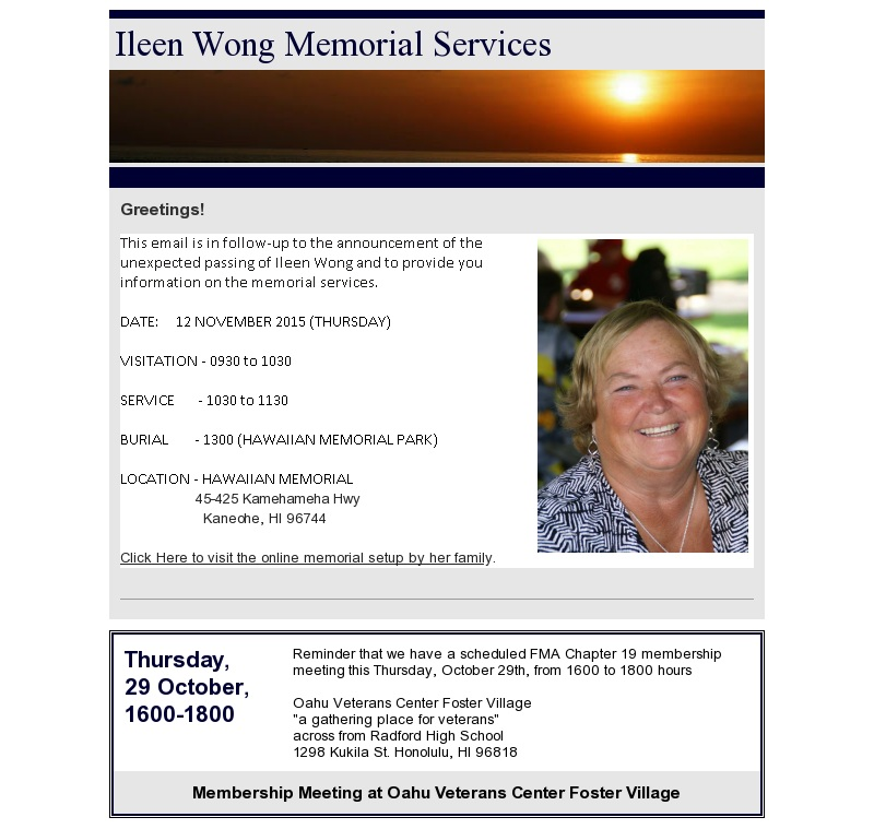 Ileen Wong Memorial Services Announcement