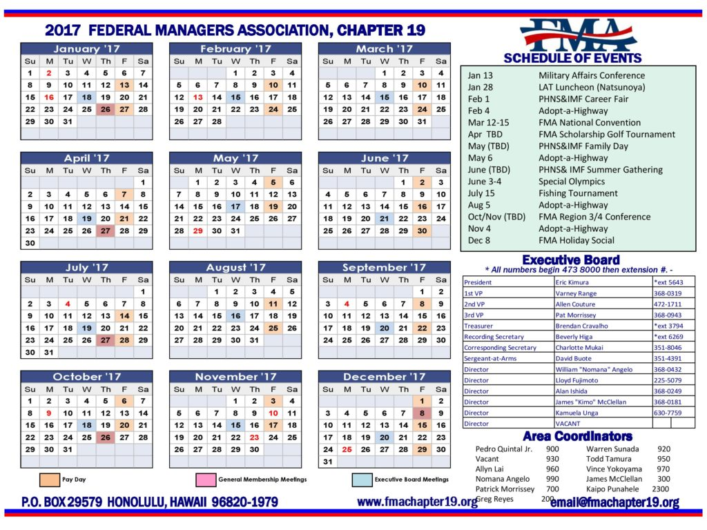 2018 Chapter 19 Calendar
