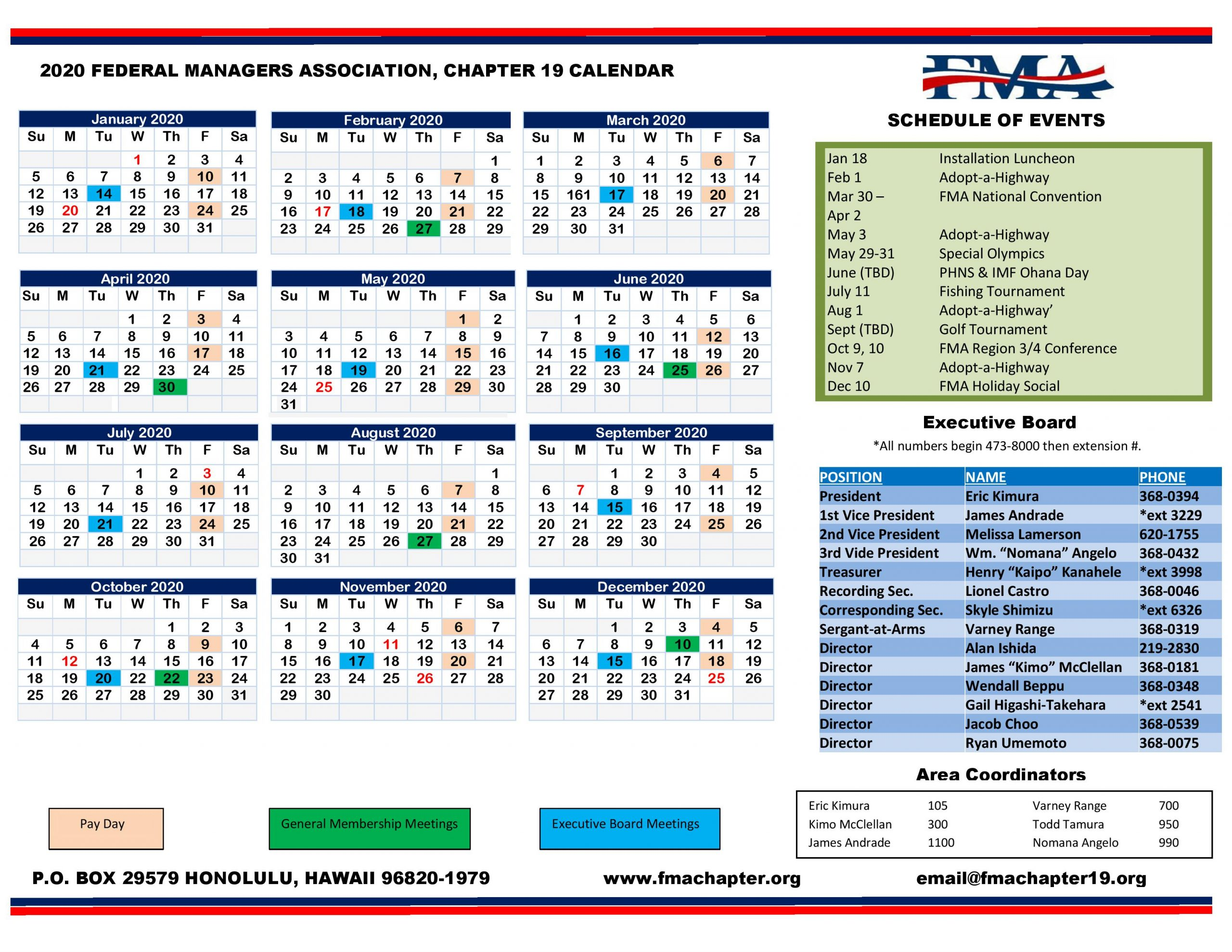 2020 Chapter 19 Calendar