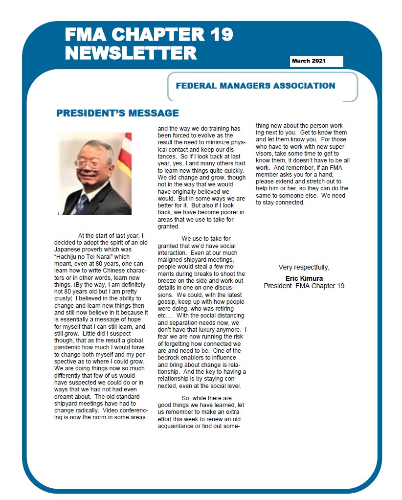 March 2021 FMA Chapter 19 Newsletter